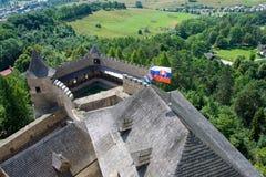 Stara Lubovna castle_flag Stock Photography