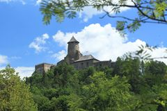 Stara Lubovna castle. On a limestone cliff in Slovakia royalty free stock image