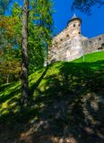 Stara Lubovna Castle of Slovakia on the hillside. Beautiful medieval architecture. popular tourist attraction. lovely summer scenery Royalty Free Stock Photos