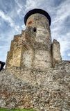 Stara Lubovna - castle tower. In Slovakia. Early spring evening. Castle high tower royalty free stock image