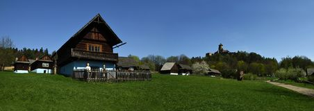 Stara Lubovna Museum & Castle, Spis region, Slovakia. Open air museum of folk village in Stara Lubovna with old wooden houses of Spis and Rusin region - Slovakia stock image
