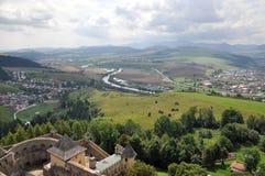 Stara Lubovna slott och landskap Slovakien, Europa royaltyfri fotografi