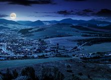 Stara lubovna town in slovakia at night. Lovely summer landscape in summer royalty free stock images