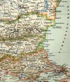 Stara mapa od geographical atlanta, 1890 Turecki Osmański imperium indyk Fotografia Royalty Free