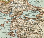 Stara mapa od geographical atlanta, 1890 Turecki Osmański imperium indyk Zdjęcie Stock