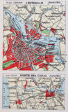 Stara 1945 mapa okolicy Amsterdam, Holandia Obrazy Royalty Free