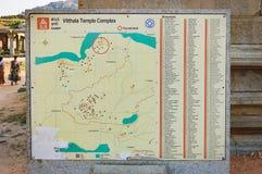 Stara mapa Vitthala świątynia w Hampi, India obrazy royalty free