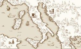 Stara mapa Włochy, Średniowieczna kartografia, wektorowa ilustracja ilustracji