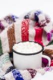 Stara metal filiżanka gorący kakao z marshmallows i miękka część kolorowa Zdjęcie Stock