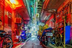 Stara mieszkaniowa boczna ulica w Taipei Obrazy Stock