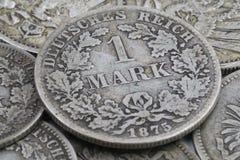 Stara moneta od niemieckiego imperium zakończenia up, 1 Mark obraz stock