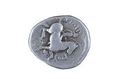 Stara moneta odizolowywająca na bielu Obrazy Royalty Free