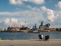 Stara morska stacja w Kopenhaga schronieniu, Dani Obrazy Stock