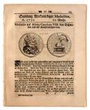 Stara Niemiecka gazeta datująca 1739 Obrazy Stock