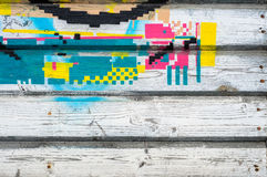 Stara nieociosana drewniana ściana z krakingową farbą Fotografia Royalty Free