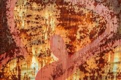 Stara nieociosana metall ściana z krakingową farbą Obrazy Royalty Free