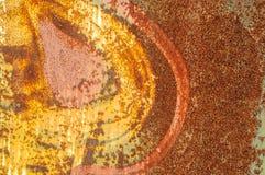 Stara nieociosana metall ściana z krakingową farbą Zdjęcia Royalty Free