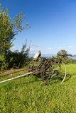 Stara nieużywana rolnicza maszynowa pozycja na zielonej trawie Zdjęcie Stock
