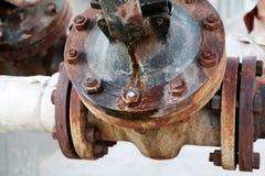 Stara ośniedziała przemysłowa wodna drymba Fotografia Royalty Free