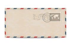 Stara opłaty pocztowa koperta z znaczkami Fotografia Stock