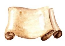 Stara papierowa ślimacznica lub horyzontalny pergamin Akwareli ręka rysująca ilustracja, odizolowywająca na białym tle royalty ilustracja
