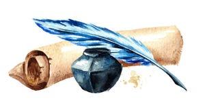 Stara papierowa ślimacznica z piórem i inkwell Akwareli ręka rysująca ilustracja, odizolowywająca na białym tle ilustracja wektor