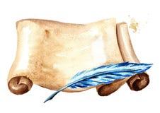Stara papierowa horyzontalna ślimacznica z piórem Akwareli ręka rysująca ilustracja odizolowywająca na białym tle ilustracji