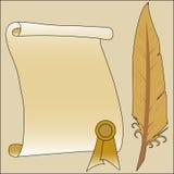 Papier i piórko Obrazy Stock