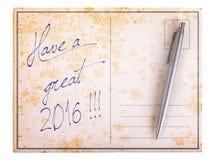 Stara papierowa pocztówka - wielki 2016 Zdjęcie Stock