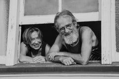 Stara para małżeńska szczęśliwa i zadowolona Obrazy Stock