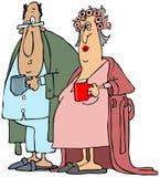 Stara para ma ich ranek kawę ilustracji
