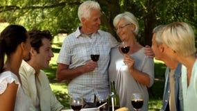 Stara para wznosi toast z rodziną w parku zdjęcie wideo
