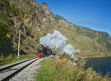 Stara parowa lokomotywa w Baikal kolei Obraz Stock