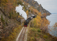 Stara parowa lokomotywa w Baikal kolei Fotografia Royalty Free