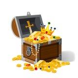 Stara pirat klatka piersiowa pełno skarby, złociste monety, ingots, biżuteria, korona, kindżał, wektor, kreskówka styl, ilustracj ilustracja wektor