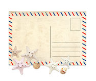 Stara pocztówka i rozgwiazdy Zdjęcie Stock