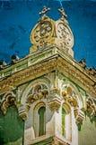 Stara pocztówka jeden dziejowy budynek Timisoara, Rumunia 20 Obraz Stock