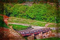 Stara pocztówka z Petrovaradin fortecą w Novi Sad, Serbia 8 Obraz Stock