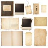 Stara poczta, papier, książka, polaroid ramy, znaczek Obrazy Royalty Free