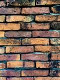 Stara Pomarańczowa ściana z cegieł wzoru tekstura Obraz Royalty Free