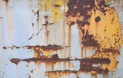 Stara rdza na żelazie Krakingowa farba i narysy Tekstura i tło stary metal obrazy royalty free