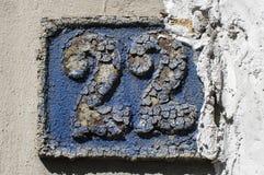 Stara retro obsada żelazo półkowa liczba 22 Zdjęcia Stock