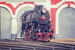 Stara retro parowa lokomotywa Obrazy Stock