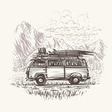 Stara retro podróż autobusu ilustracja wektor EPS10 Zdjęcia Royalty Free