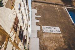 Stara retro ulica bez anyone w Włochy Wenecja w lecie Zdjęcia Stock