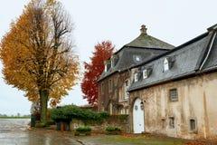 Stara rezydencja ziemska w jesieni lasowej Starej rezydenci ziemskiej i Kolorowy bluszcza dorośnięcie na ścianach obraz royalty free