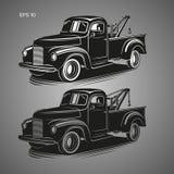 Stara rocznik holowniczej ciężarówki wektoru ilustracja Retro usługowy pojazd Czarny biały i czarny przejrzysty set ilustracji