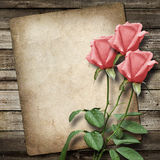 Stara rocznik karta i bukiet róże Zdjęcia Stock