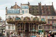 Stara rocznika carousel karuzela w miejscu Kleber, Strasbo Obrazy Stock