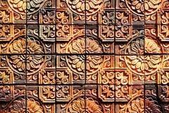 Stara rocznika earthenware ściana tafluje wzory handcraft od Thailand społeczeństwa Obraz Stock